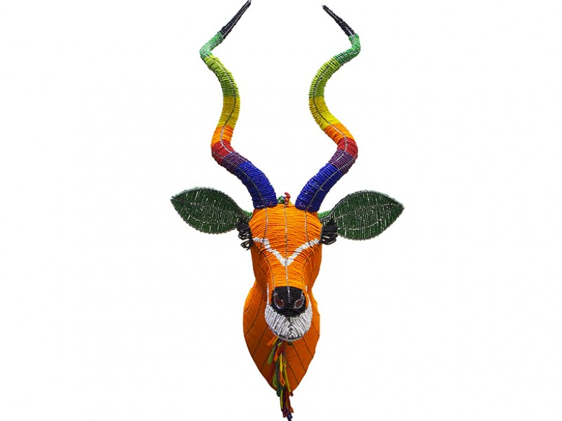 Bead and Wire Kudu Head - front view