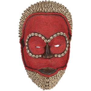 Bamileke Mask - Beads and Cowrie Shells  - Red with Beard