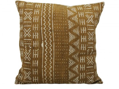 Mudcloth Cushion - Olive With Dots and Chevron 45 x 45cm