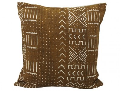 Mudcloth Cushion - Olive With Dots and Sripes 45 x 45cm