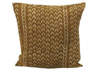 Mudcloth Cushion - Olive With Fish Scales 45 x 45cm