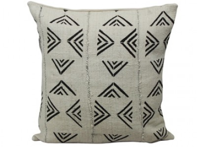 Mudcloth Cushion - White with Black Arrows 45 x 45cm