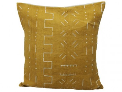 Mudcloth Cushion - Yellow with White Design 45 x 45cm