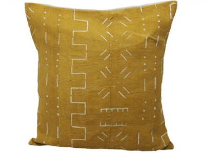 Mudcloth Cushion - Yellow with White Design 50 x 50cm