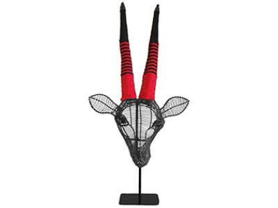 Gemsbok 55cm Wall Hanging - Black with Black and Red Rope