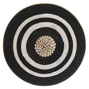 Large Beaded Shield - Black with White Rings and Cowrie Center