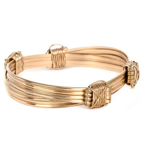 Mens 4 Gold Strand Bracelet With 4 Gold Knots