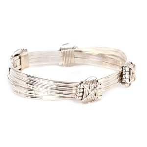 Mens 4 SILVER STRAND BRACELET WITH 4 SILVER KNOTS