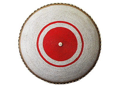 Large Beaded Shield - White With Red Centre