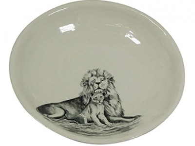 Handmade Ceramic Safari Lion Bowl