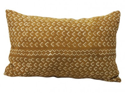 Mudcloth Lumbar Cushion - Olive with Fish Scales 60 X 40cm
