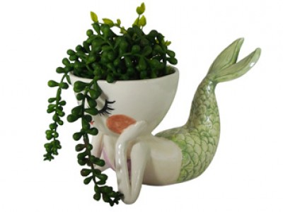 Ceramic Mermaid Planter - Lying Down