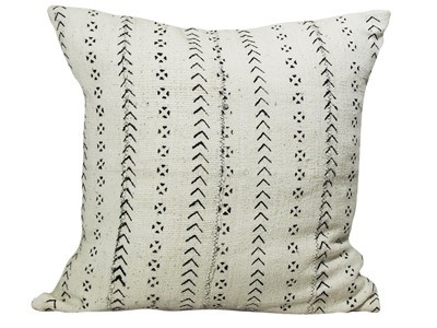 Mudcloth Cushion - White with Black Flowers 50 x 50cm