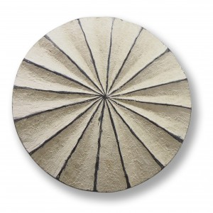 Large Wooden Shield - White Pansy Shell Carving