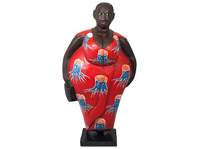 Mama Africa Wood Sculpture - Red Dress 65cm