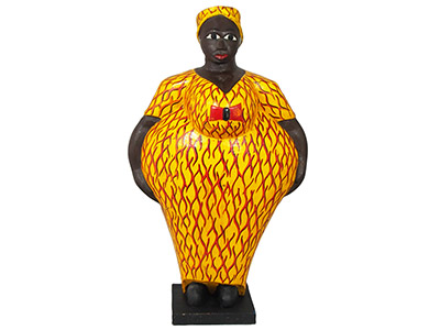 Mama Africa Wood Sculpture - Yellow & Red Dress 60cm